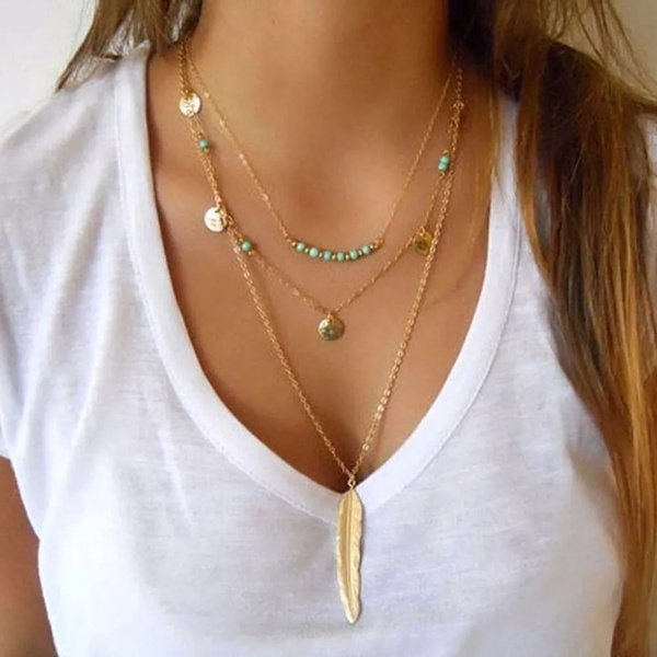 Gold feather blue beads necklace picture