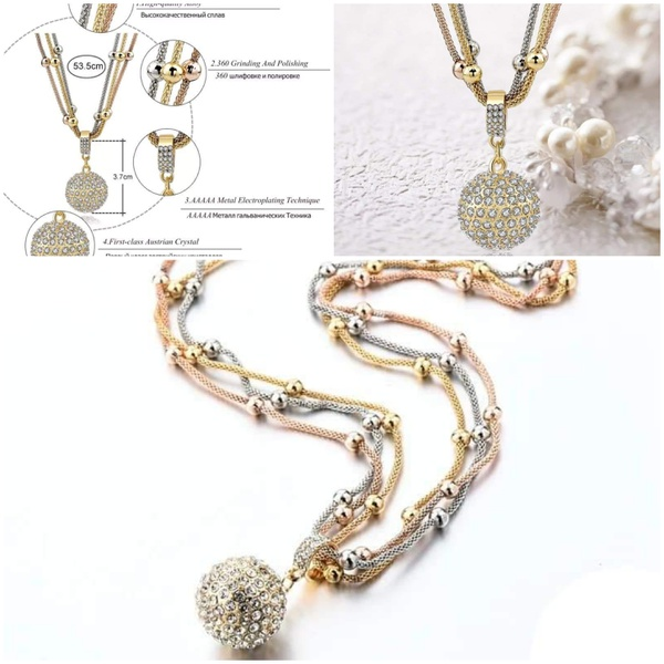 Diamante studded ball necklace 3 colour picture