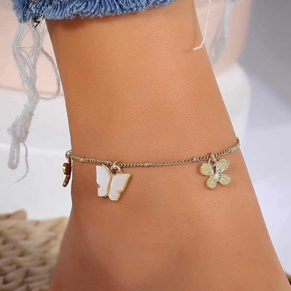 Flower and butterfly anklet picture