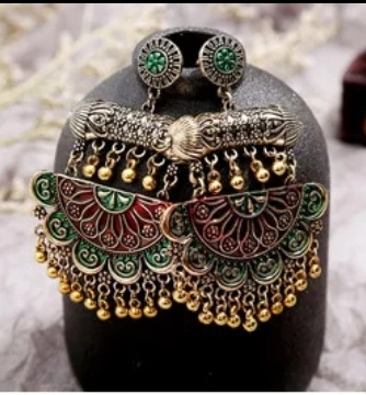 Large ethnic earings green picture