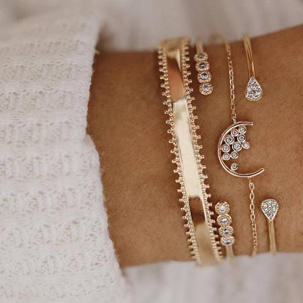 Gold moon bracelet set picture