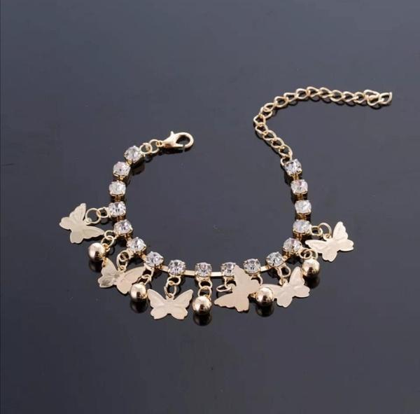 Butterfly bracelet silver stones picture
