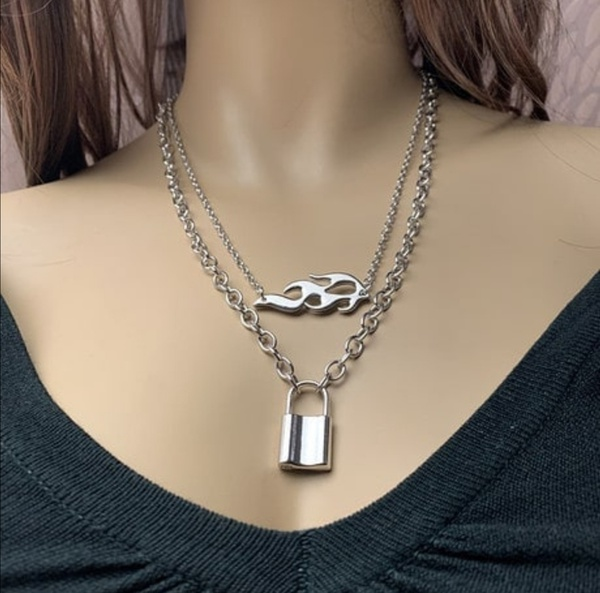 Lock and flame necklace picture
