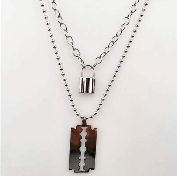 Lock and tag necklace picture