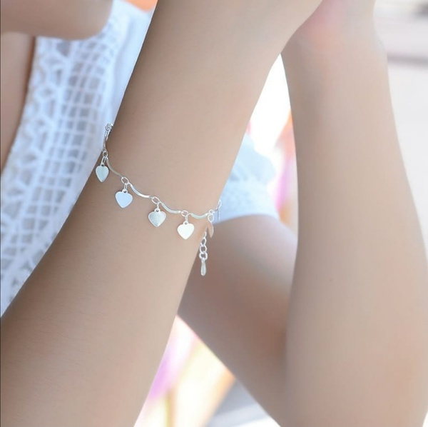 Heart anklet and bracelet set picture
