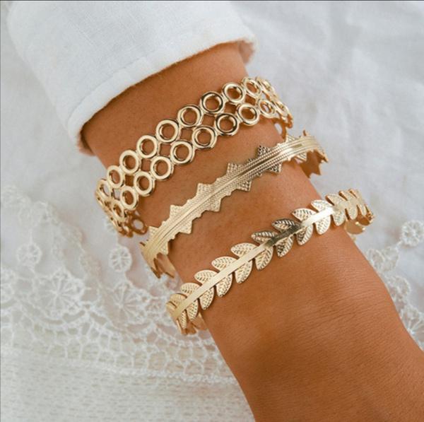 Gold 3 piece bracelet set picture