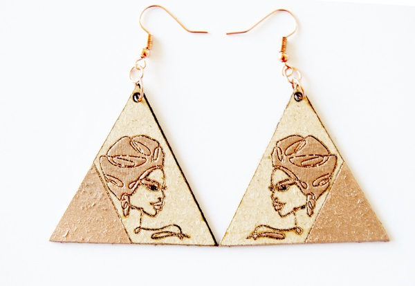 Laser cut triangle earring set with rose gold painted and engraved female face. picture