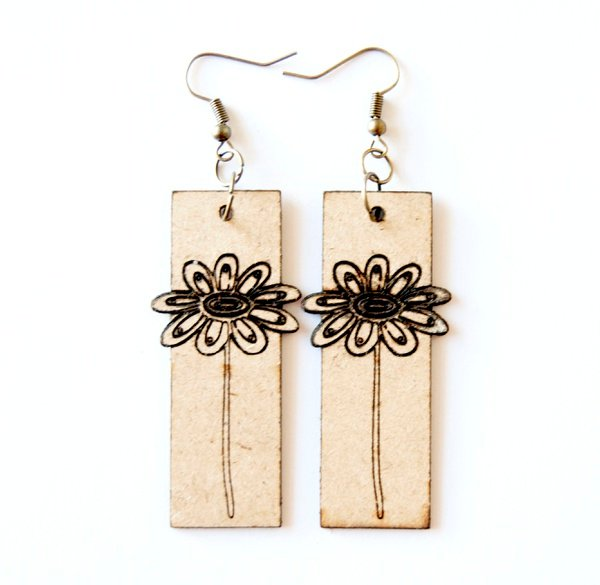 Laser cut rectangle earring set. engraved daisy flower. picture