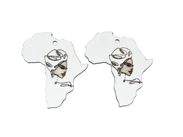 Laser cut african map earring set, african lady. picture