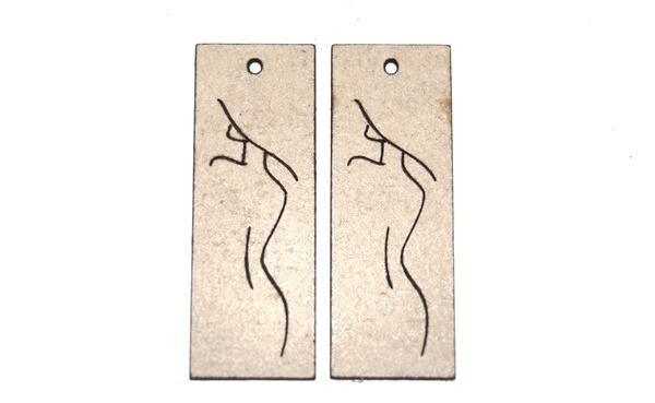 Laser cut rectangle earring set. one line feminine shape print. picture