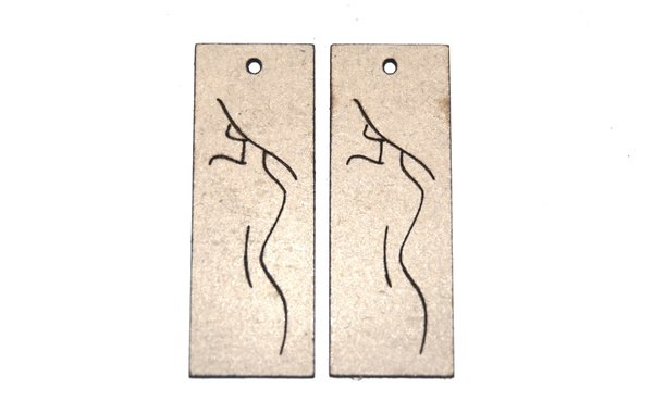 Laser cut wooden rectangle earring set. engraved one line feminine shape. picture