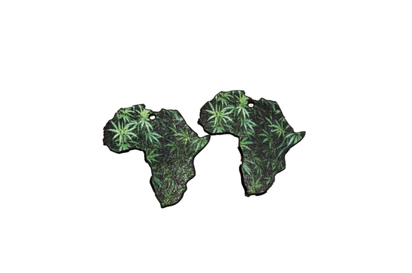 Laser cut african map earring set, marijuana print. picture