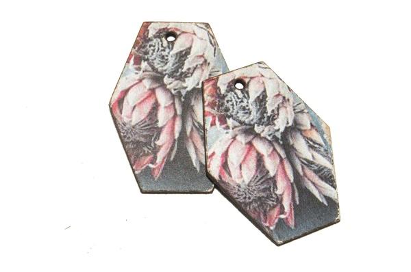 Laser cut hexagon earring set. protea print picture