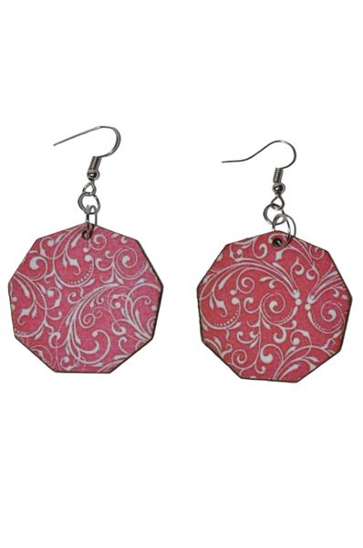 Laser cut nonagon earring set, red with white swirl picture