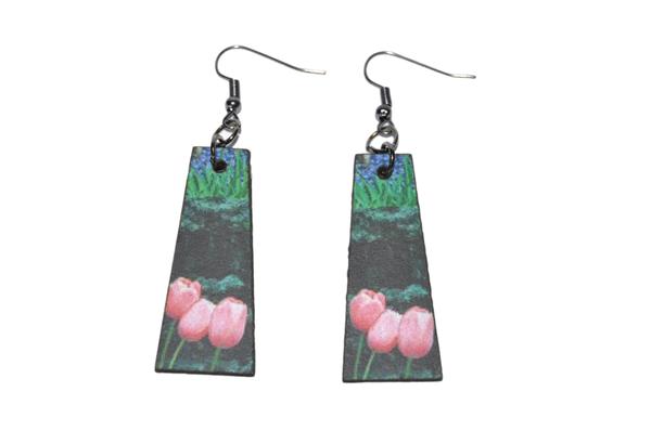 Laser cut trapeze earring set tulip print. picture