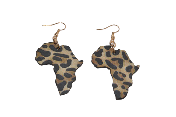 Laser cut african map earring set. brown and black leopard print. picture