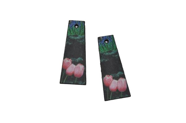 Laser cut trapeze earring set, tulip print. picture