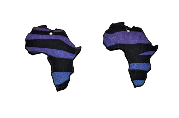 Laser cut african map earring set, colorful zebra print. picture