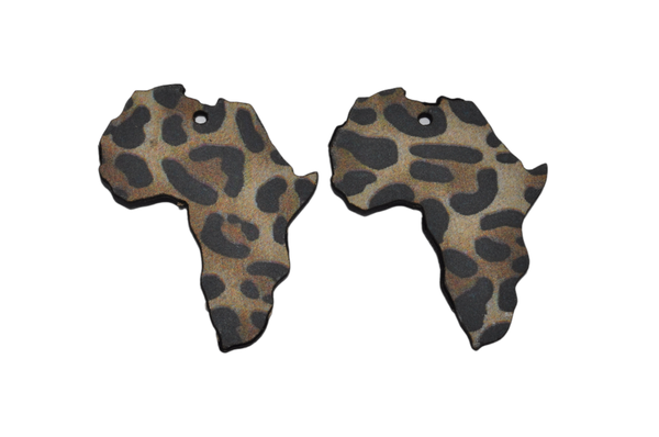 Laser cut african map earring set, brown and black leopard print. picture