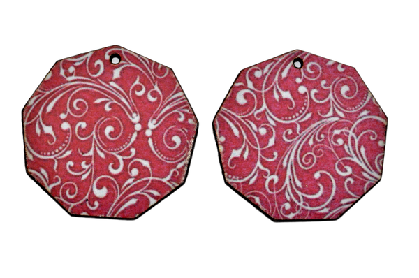 Laser cut nonagon earring set, red with white swirl. picture