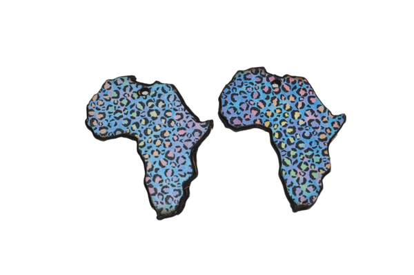Laser cut african map, earring set , colourful cheetah print. picture