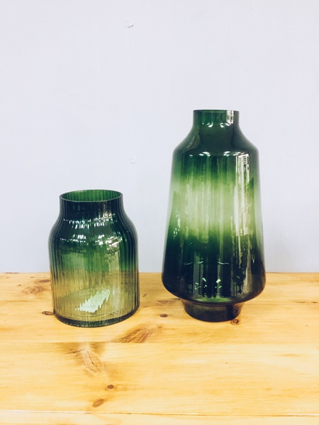2 forest green vases picture