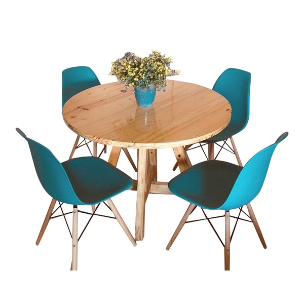 Emma round wooden leg table picture
