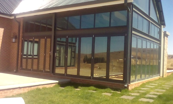 Folding doors with top lights picture