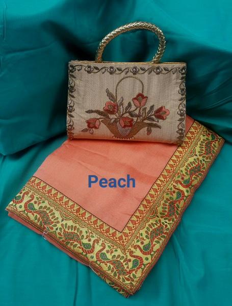 Crepe silk saree & bag combo picture