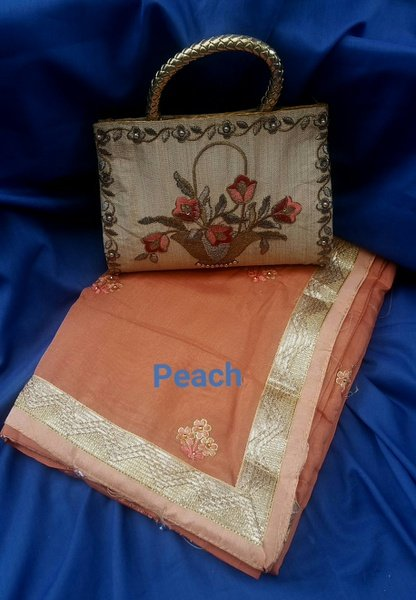 Crepe silk saree & bag combo - 02 picture