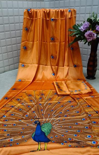 Silk - satin peacock picture
