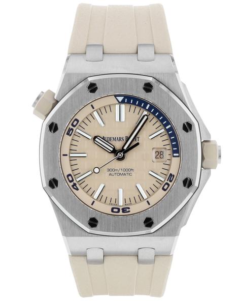 Audemars piguet royal oak offshore stainless steel beige automatic men's watch picture