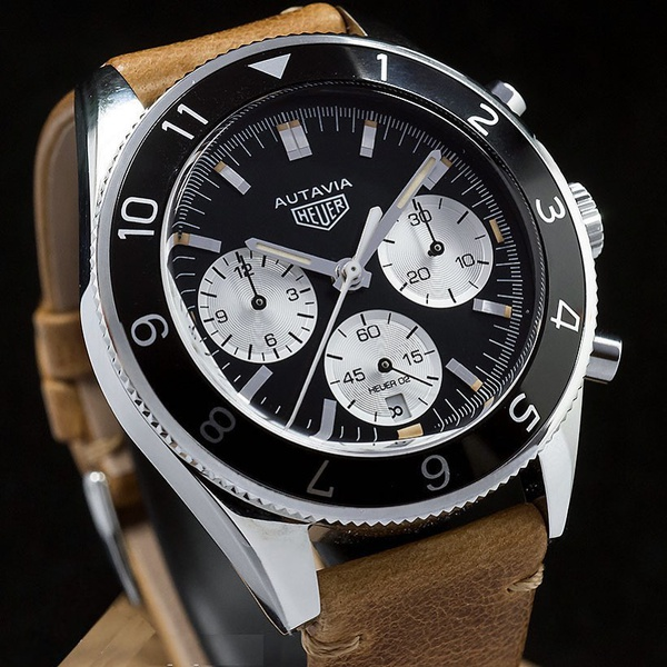 Tag heuer heritage iconic autavia black chronograph leather strap men's watch picture