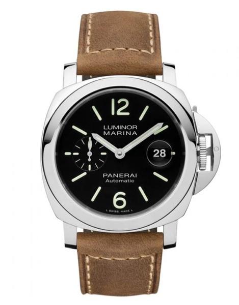 Panerai luminor marina automatic acciaio 44mm black dial brown leather strap men's watch picture