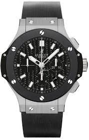 Hublot big bang 44mm steel ceramic black chronograph rubber strap men's watch picture