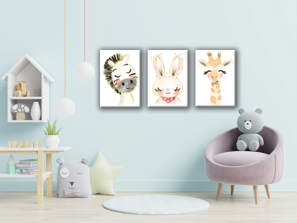 Set of 3 x a4 sleepy animal canvas prints picture