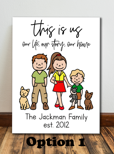 Personalised stick family portrait picture