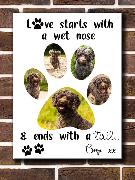 Personalised dog paw print (with text) picture