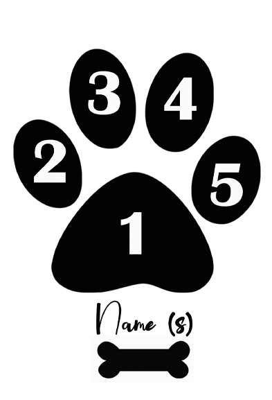 Personalised dog paw print (with names) picture