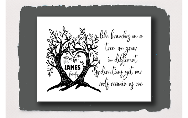 Branches on a tree family canvas picture