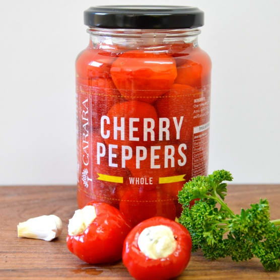 Red cherry peppers - whole picture