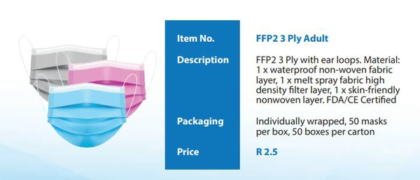 Ffp2 3 ply masks - adults picture