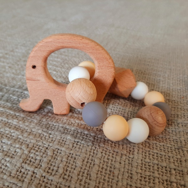 Assorted colour animal rattle teether picture