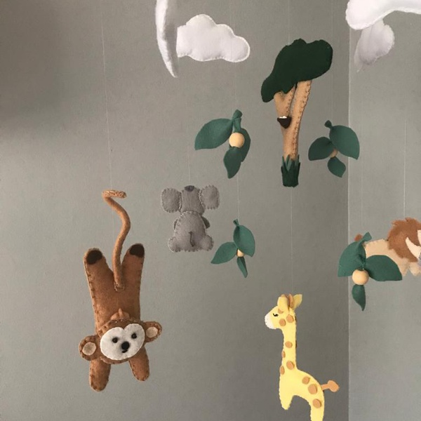 Baby wildlife themed mobile picture