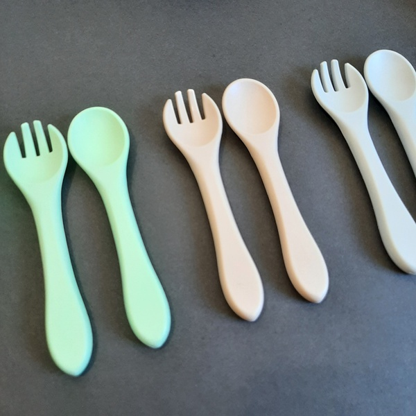 Long silicone fork and spoon set picture