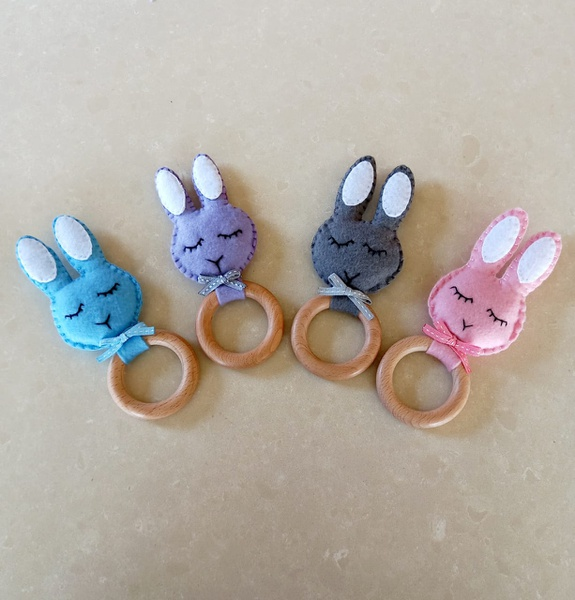 Handmade felt bunny rattle picture