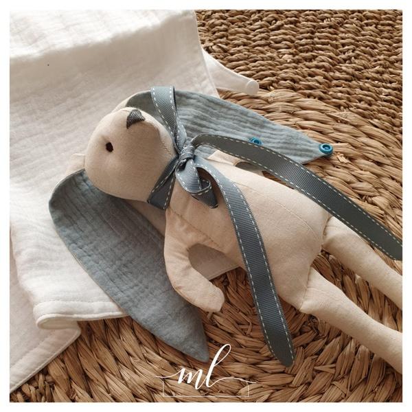 Muslin ocean cotton bunny picture