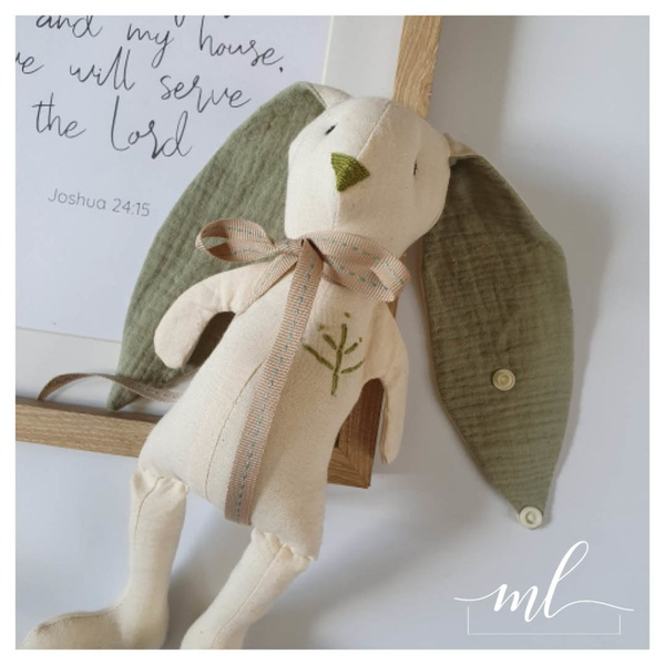 Sage muslin cotton bunny picture
