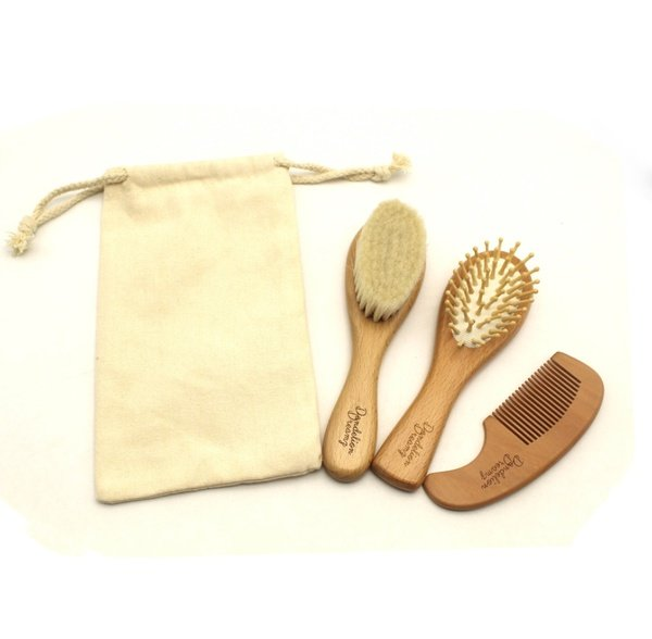 Natural wooden brush & comb set picture