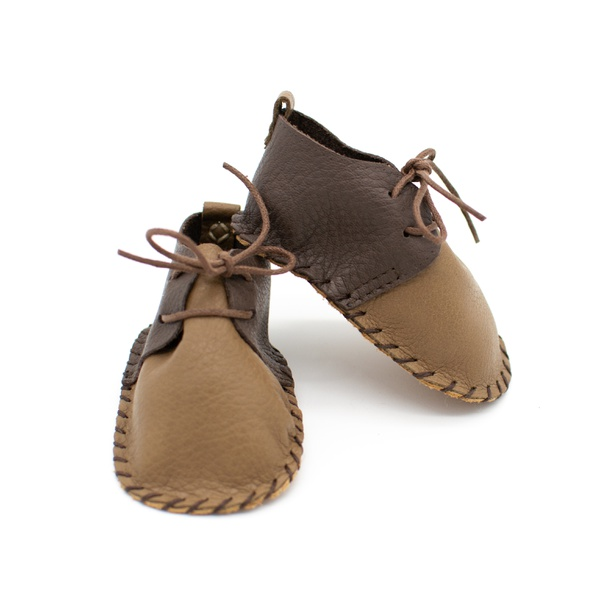 Two tone brown leather shoes picture